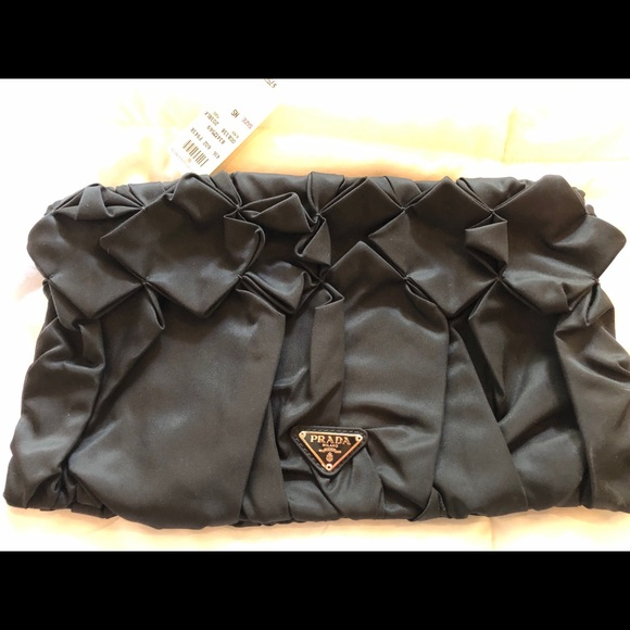 Prada Bags   Nwt Black Satin Clutch   Poshmark 0672546e62
